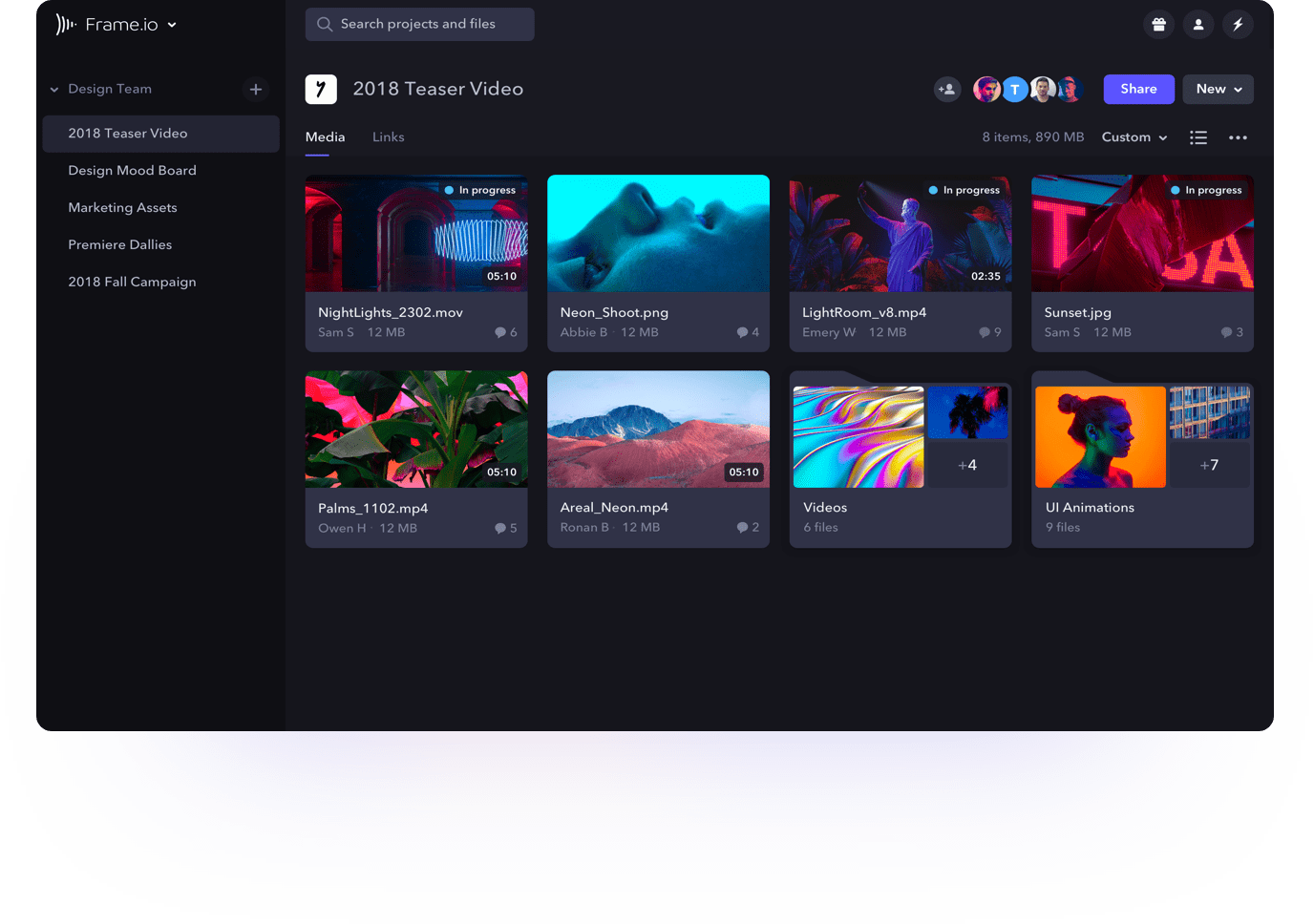 Frame.io project view